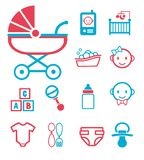 Vector icon set for creating infographics related to childbirth and newborn babies like baby phone, stroller, bottle, face, crib o. Vector icon set for creating royalty free illustration