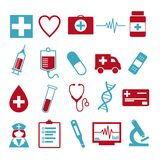Vector icon set for creating infographics related to medicine and health, like pill, syringe, nurse, ambulance, vial or stethosco stock illustration