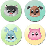 Vector icon set of cute animal faces smiling Stock Photo
