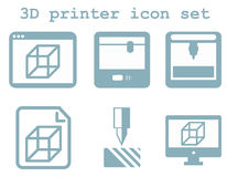 Vector icon set of 3d printing technology, flat blue isolated ic. Ons: display, window, blueprint, device on white background Royalty Free Stock Images