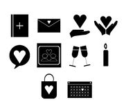 Vector icon set for dating couple Royalty Free Stock Photography