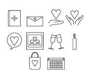 Vector icon set for dating couple Royalty Free Stock Image