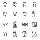 Vector icon set for dental care Stock Photos