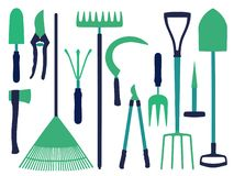 Vector icon set with different gardening tools icons like shovel, ax, rake, scythe or dung fork