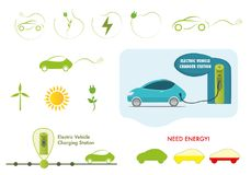 Vector icon set electric car charging station royalty free illustration