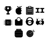 Vector icon set for exercise and diet Stock Image