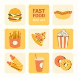 Vector icon set fast food Royalty Free Stock Images