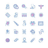 Vector icon set of fertilization, pregnancy and motherhood. Gyne. Cology, childbirth healthcare thin line symbols for web design, layout, etc Royalty Free Stock Photo