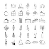 Vector icon set of food and drink Royalty Free Stock Images