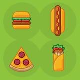 Vector icon set of food fast food pizza, sandwich roll, hamburger, hot dog vector illustration