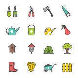 Vector icon set of garden tools and accessories Stock Photography