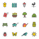 Vector icon set of garden tools and accessories Royalty Free Stock Photos