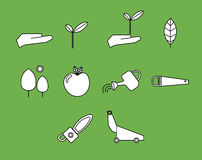 Vector icon set for gardening activities Royalty Free Stock Photo