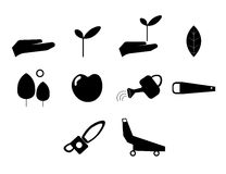 Vector icon set for gardening activities Royalty Free Stock Images