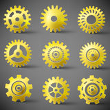 Vector icon set of gears Royalty Free Stock Photos