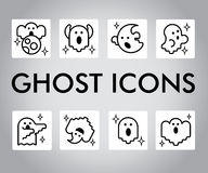 Vector icon set with ghosts characters. Halloween illustration. Cartoon flat style. Royalty Free Stock Photos