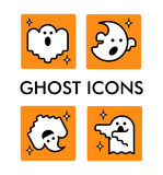 Vector icon set with ghosts characters. Halloween illustration. Cartoon flat style. Stock Image