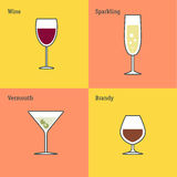 Vector icon set of glass goblets. Flat thin line design. Wine, sparkling wine, vermouth and brandy. Royalty Free Stock Image