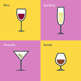 Vector icon set of glass goblets. Flat thin line design. Wine, sparkling wine, vermouth and brandy. Stock Image