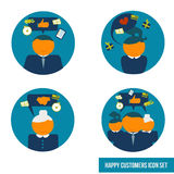 Vector icon set happy customers Royalty Free Stock Images