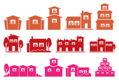 Vector Icon Set of Houses and Homes Isolated on White Background Royalty Free Stock Image