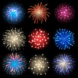 Fireworks. Vector icon set - isolated fireworks on black background stock illustration
