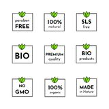 Vector icon set of labels. Organic cosmetics free sls, parabens, 100% natural and healthy. Only bio ingridients. royalty free illustration