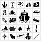 Vector icon set nautical Royalty Free Stock Images