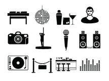 Vector icon set for night club Royalty Free Stock Photo