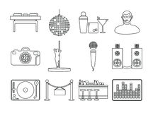Vector icon set for night club Royalty Free Stock Images