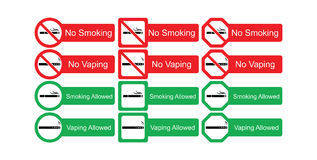 Vector icon set of no smoking and smoking allowed Royalty Free Stock Photos