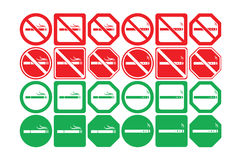 Vector icon set of no smoking and smoking allowed Stock Image