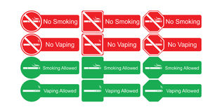 Vector icon set of no smoking and smoking allowed Royalty Free Stock Image