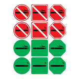 Vector icon set of no smoking and smoking allowed Royalty Free Stock Photo