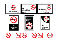 Vector icon set of no smoking Stock Photography