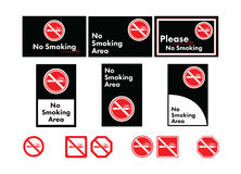 Vector icon set of no smoking Stock Image