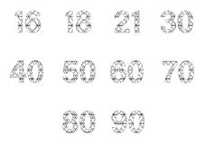 Vector icon set for patterned numbers Royalty Free Stock Photos