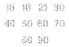 Vector icon set for patterned numbers Stock Image