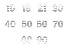 Vector icon set for patterned numbers Royalty Free Stock Photo