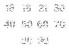 Vector icon set for patterned numbers Stock Images