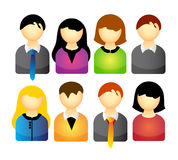 Vector icon set of people isolated over white background Stock Images