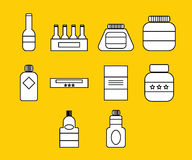 Vector icon set for plastic containers Royalty Free Stock Photography