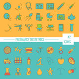 Vector icon set. Pregnancy and obstetrician vector thin line icon set. Clean and modern line style vector art Stock Photo