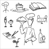 vector icon set, restaurant waiter Royalty Free Stock Photography