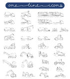 Vector icon set road and construction equipment Royalty Free Stock Images