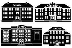 Vector icon set school buildings. Icon set different types of school buildings. Schoolhouses silhouettes on white background. Vector illustration Stock Photography