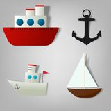 Vector icon set ships. For decoration book travel Royalty Free Stock Images