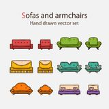 Vector Icon set of sofas and armchairs Stock Images