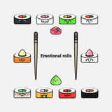 Vector icon set of sushi and rolls Royalty Free Stock Photo