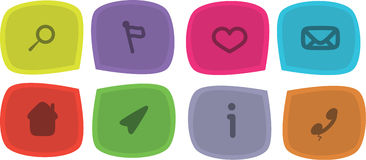 Vector Icon set with symbols. Vector colored Icon set with symbols Royalty Free Stock Photos